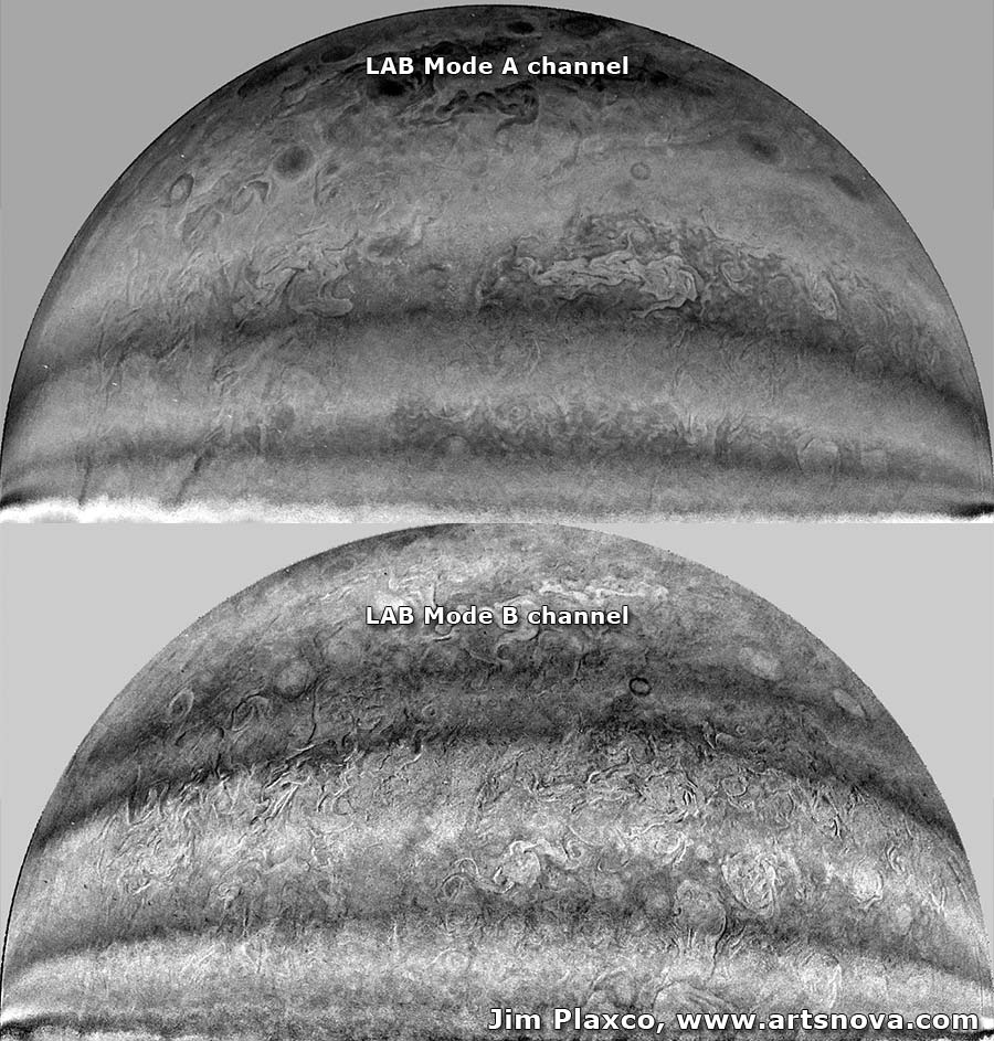 NASA Juno JunoCam LAB Mode Color Channels A and B Stretched