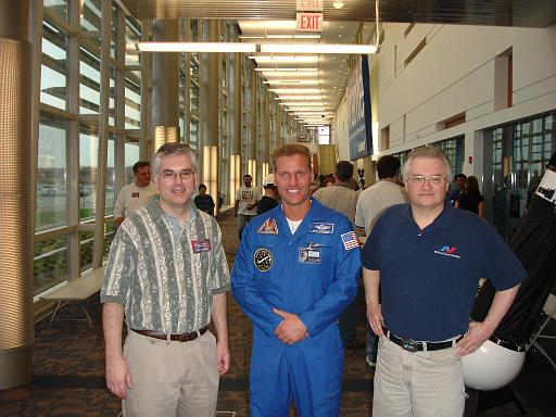 Jim Plaxco (right) before his Astronomy Day presentation at Harper College, Palatime IL