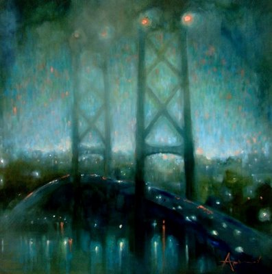MacDonald Bridge in Fog: Twilight