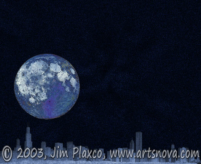 Blue Moon Over Chicago digital art