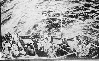 Titanic survivors along side Carpathia
